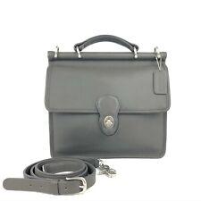 COACH Vintage Gray Leather Willis Turnlock Flap Messenger Crossbody #9927