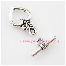 5Sets Tibetan Silver Lovely Heart Bracelet Toggle Clasps Connectors