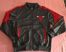 Chicago Bulls Full Zip Jacket Youth Large Tall Gray Red Embroidered Logos NBA