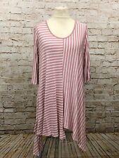 Moonshine Fashion Streifen Tunika Shirt Lagenlook Übergröße 44 46 48 Neu rosa