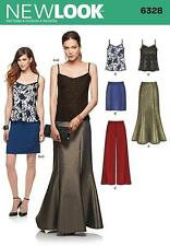 NEW LOOK SEWING PATTERN MISSES' SKIRT TROUSERS & CAMISOLE SIZES 8 - 20 6328
