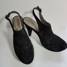 Me Too 11M Black Suede Leather Slingback High Heel Clogs Mules Pumps
