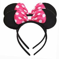 1 Minnie Mouse Ears Headband ROSE Polka Dots Plush Birthday Favor Party Costume