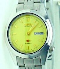 NEW Old Stock Ladies Citizen Automatic Eagle 21-J Yellow Dial Day-Date S Steel