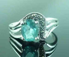 Sterling Silver MARCASITE & BLUE TOPAZ Art Deco Style Ring Size P (US Size 8)