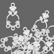 Chandelier Drop Charm Silver 3 loops Jewelry Finding Lot of 12