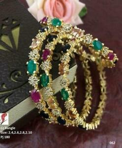 Indian Bollywood Gold Plated 4 PCs AD Multi Bangle Bracelet Women Wedding Jewelr
