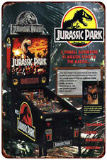 Jurassic Park Vintage Pinball Machine Ad Reproduction Metal Sign 8 x 12