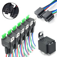 6 Pack 30A Fuse Relay Switch Harness Set DC 12V 5 Pin SPST Automotive Relays