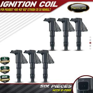 6x for Citroen C5 C6 Peugeot 406 407 Renault Laguna Ignition Coils 6Cyl 2.9/3.0L