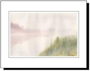 Branch Valley Fog Bucks County PA, Original Watercolor Mounted Print 11x14