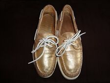 SPERRY TOP SIDER GOLD LEATHER Size 7medium~~GENTLY WORN, CLEAN