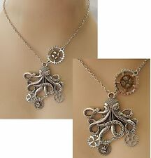 Steampunk Octopus Gears Pendant Necklace Jewelry Handmade NEW Silver Adjustable