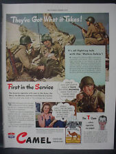 1943 WW2 Soliders on Beach all like Camel Cigarettes Vintage Print Ad 12433