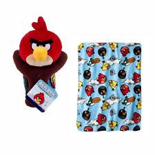"Angry Birds Red Stuffed Animal Plush Pillow Figure w/ 40""x50"" Throw Blanket Set"