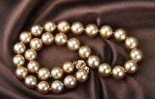 """18""""11-12mm round south sea gold pearl necklace"""
