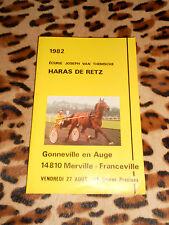 Ecurie Joseph Van Themsche - Haras De Retz - Catalogue De Vente, 1982
