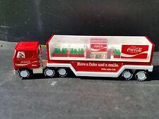 vintage Buddy L Coca Cola semi trailer window w 4 cases of soda & soda machine