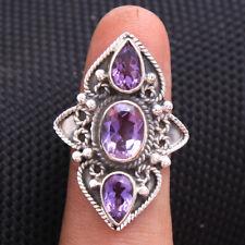 Bali style Gemstone Ring Purple Amethyst 925 sterling silver Size us 8.25