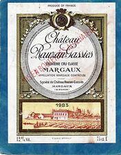 MARGAUX GCC ETIQUETTE CHATEAU RAUZAN GASSIES 1983 75 CL  RARE §15/08§