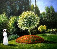 Quality Hand Painted Oil Painting Repro Monet's Marguerite in the Garden 20x24in