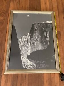 *Rare* Ansel Adams original Framed Poster size Photo of Moon And Halfdome