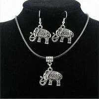 Chinese Style Tibet Silver Elephant Pendant Necklace Earring Hook Jewelry Set