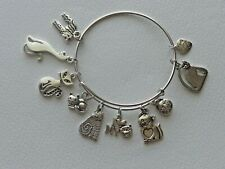 CAT LOVERS LOVE MY CAT MADE WITH LOVE LOTS OF CAT CHARMS  BANGLE CHARM BRACELET