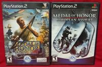 Medal of Honor European + Rising Sun PS2 Playstation 2 Game Lot Tested Complete