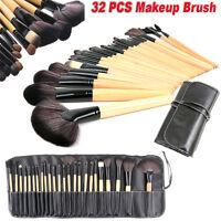 32 Pcs Professional Make Up Brush Set Brown Foundation Brush Kabuki Makeup Bobbi