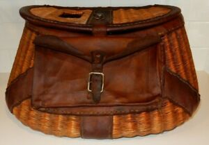 Vintage Wicker Fishing Creel Basket With Leather Strap & Pocket Fly Fishing