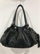 OROTON Black Leather Shoulder Bag Tasseled Zip-Pull Stainless Detailing GORGEOUS