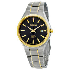 Seiko Solar Black Dial Two-tone Titanium Mens Watch SNE382
