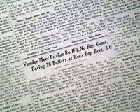 JOHNNY VANDER-MEER 1st No Hitter in Row Cincinnati Reds Baseball 1938 Newspaper