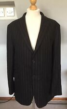 CREW CLOTHING COMPANY MENS  BROWN LAMBSWOOL GREY STRIPE JACKET 46 CHEST