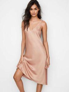 VICTORIA'S SECRET SILK SLIP ROSE GOLD SLEEP DRESS NIGHTGOWN PAJAMA LARGE