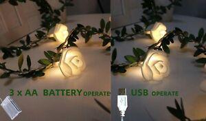 40 LED Garland Fairy String Lights Battery USB Power Wedding Garden Party Decor