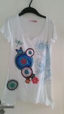 Desigual Mädchen A-Linien Sommer T-Shirt weiß bunte Kreise 158 164