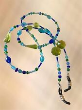 Gorgeous Blue & Green Glass Beaded Eye Glasses / Sunglasses Chain Strap Holder