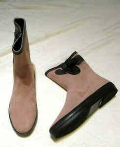 NEW IN BOX SIZE 4 37 RUBBER SOLE PINK FAUX SUEDE BOOTS