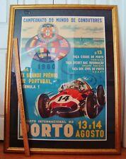 "Original 1960 Portugal Grand Prix Race Poster Massive 36"" X 48"" Framed Lotus"