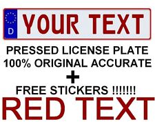 Customized Custom Germany European Union Car Euro License Plate German RED TEXT