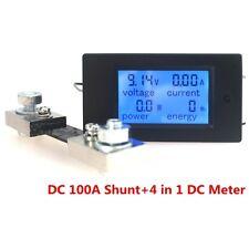 Digital Ammeter VoltmeterDC100V100A Power Energy MonitorLCDBlue + 100AShunt
