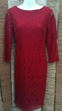 OASIS Ladies Red Lace Long Sleeve Fitted Bodycon Pencil Dress Size 8