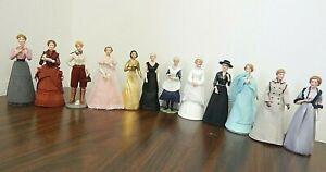 """Set 12 U.S. Hist. Soc. Great Amer. Women Arts&Letters 6"""" Half-Doll/Figurines MIB"""