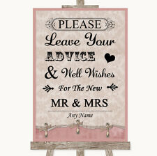 Wedding Sign Poster Print Pink Shabby Chic Guestbook Advice & Wishes Mr & Mrs