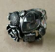 New fashion cocktail ring jewelry adjustable gray stone flower cluster alloy