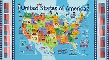 USA MAP 100% cotton fabric panel apprx 24 inch X 44 in FREE ship US AMERICAN MAP
