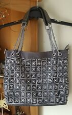 BLING Jeweled Pewter Gray Pebbled Leather-like Pocketbook