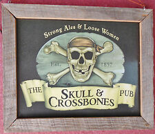 SCULL & CROSSBONES PUB-MAN CAVE Decor-Metal Sign-Barnwood Frame-Made in USA